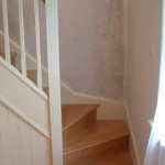 Oak staircase traditional with painted spindles
